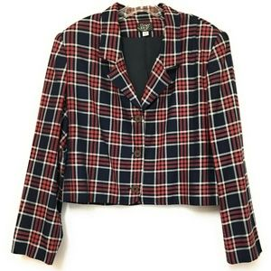Vintage 80s 90s Womens Cropped Blazer Jacket Plaid